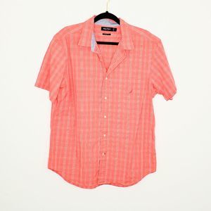 Nautica Coral Striped Short Sleeves Size L